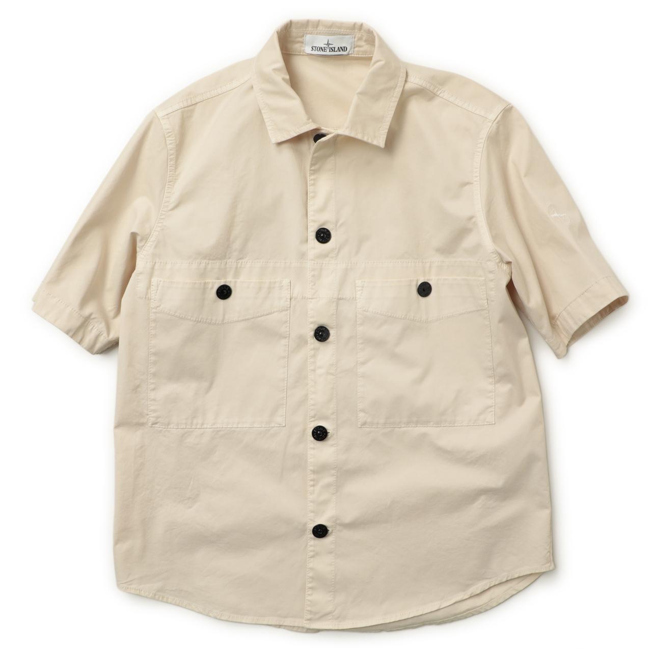 STONE ISLAND ストーンアイランド オーバーシャツ 半袖 ガーメントダイ コットン ストレッチ 741511819