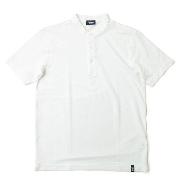 Drumohr ドルモア Tシャツ ヘンリーネック コットン 半袖 製品染め DTJ214