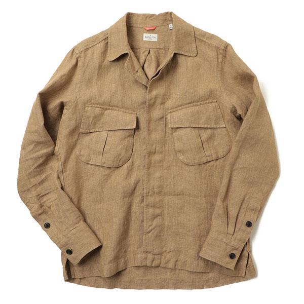 BAGUTTA バグッタ メンズ シャツ ジャケット THE SHACKET ミリタリー オープンカラー 長袖 リネン NBRAD GLW