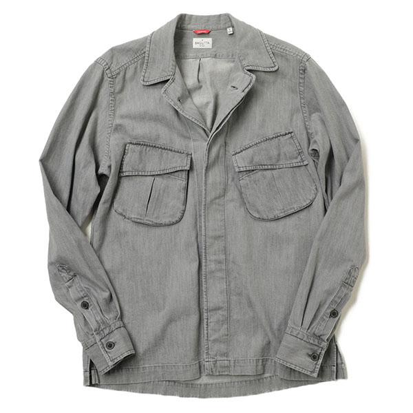BAGUTTA バグッタ メンズ シャツ ジャケット THE SHACKET ミリタリー オープンカラー 長袖 デニム NBRAD GLW